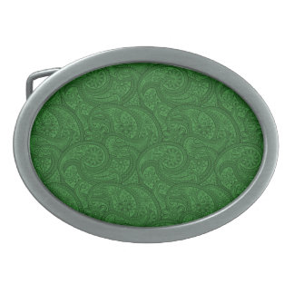 Green Paisley Oval Belt Buckles