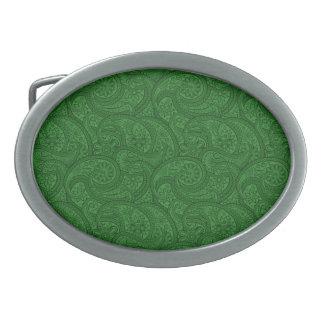 Green Paisley Oval Belt Buckles