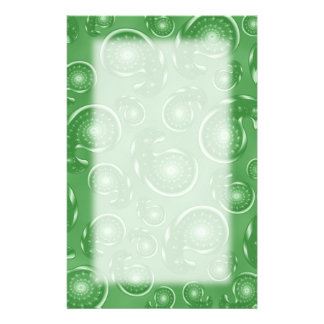 Green Paisley Pattern Stationery Paper