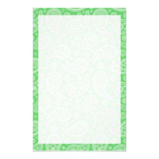 Green Paisley Pattern Custom Stationery