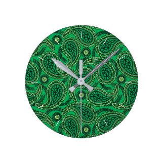 Green paisley round clock