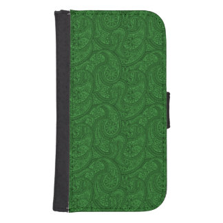 Green Paisley Samsung S4 Wallet Case