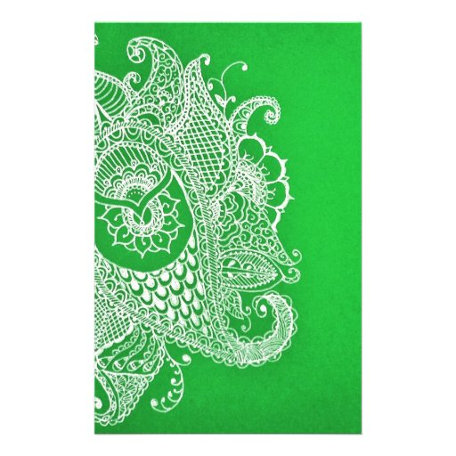 Green paisley stationery