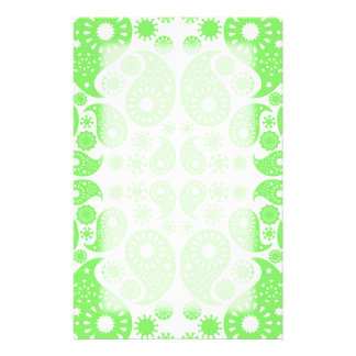 Green Paisley Stationery Paper