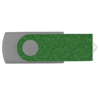 Green Paisley USB Flash Drive