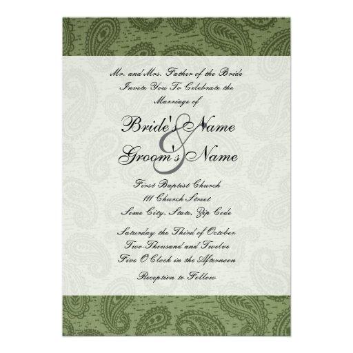 Green Paisley Wedding Invitation