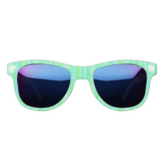 Green Palette Stripes with White Elephants Sunglasses