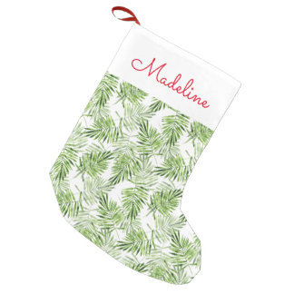 Green Palm Leaves | Add Your Name Small Christmas Stocking