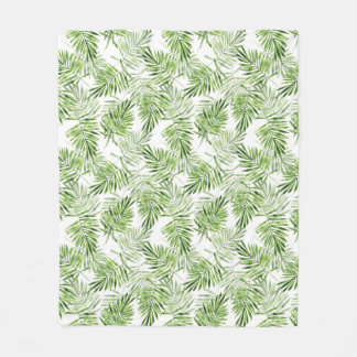Green Palm Leaves Fleece Blanket