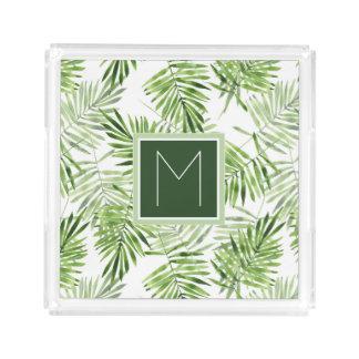 Green Palm Leaves | Monogram Perfume Tray