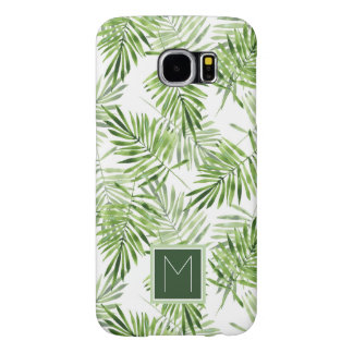 Green Palm Leaves | Monogram Samsung Galaxy S6 Cases