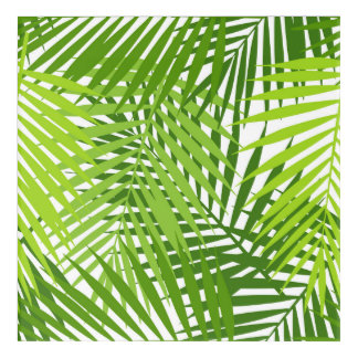 Green palm leaves pattern acrylic wall art
