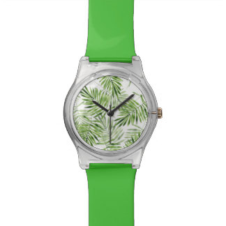 Green Palm Leaves Wristwatch