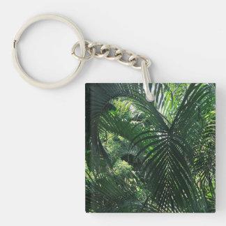 Green Palm Tree Kaychain Single-Sided Square Acrylic Keychain