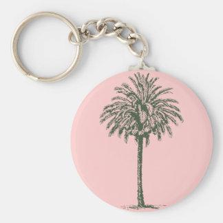 Green Palm Tree Basic Round Button Keychain