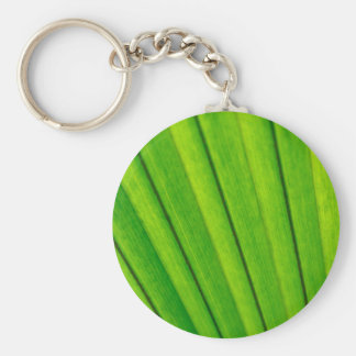 Green palm tree leaf texture basic round button keychain