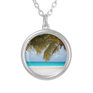 Green Palm Tree on Beach during Daytime Silver Plated Necklace