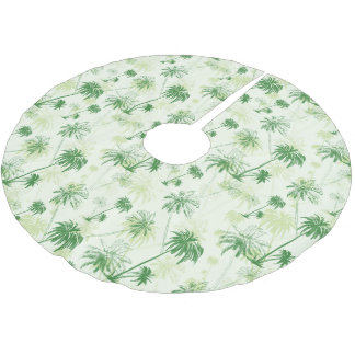 Green Palm Tree Pattern Brushed Polyester Tree Skirt