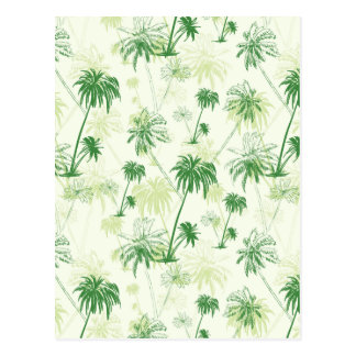 Green Palm Tree Pattern Postcard