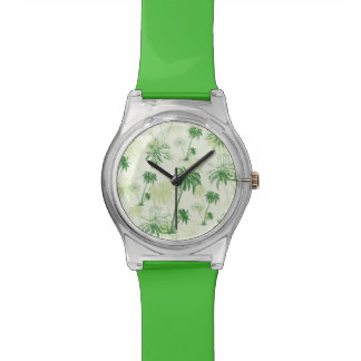 Green Palm Tree Pattern Wrist Watches