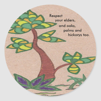 Green palm tree with saying about trees round sticker