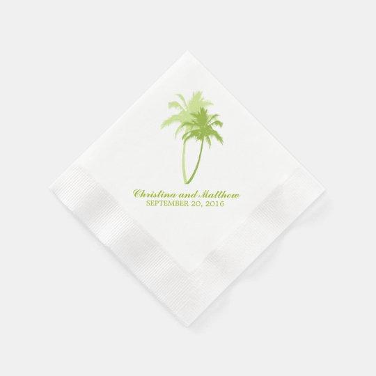 Green Palm Trees Beach Wedding Disposable Napkins