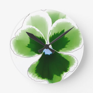 Green Pansy Flower 201711d Round Clock