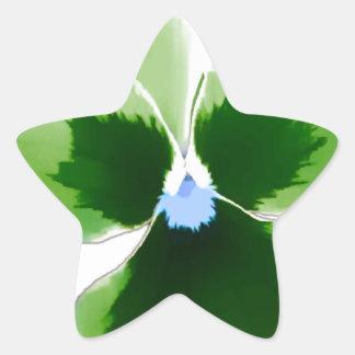 Green Pansy Flower 201711d Star Sticker