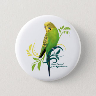 Green Parakeet 2 Inch Round Button