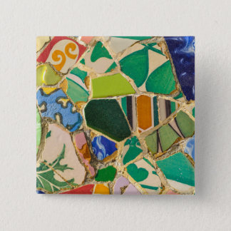 Green Parc Guell Tiles in Barcelona Spain 2 Inch Square Button