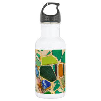 Green Parc Guell Tiles in Barcelona Spain 532 Ml Water Bottle