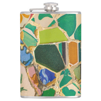 Green Parc Guell Tiles in Barcelona Spain Hip Flask