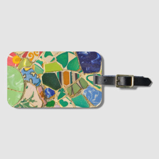 Green Parc Guell Tiles in Barcelona Spain Luggage Tag