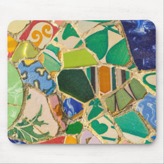 Green Parc Guell Tiles in Barcelona Spain Mouse Pad