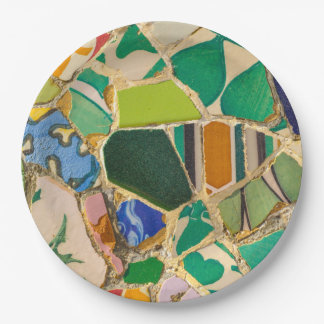Green Parc Guell Tiles in Barcelona Spain Paper Plate