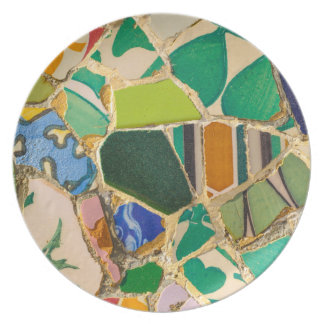Green Parc Guell Tiles in Barcelona Spain Plate