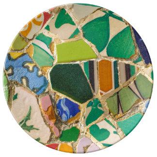 Green Parc Guell Tiles in Barcelona Spain Porcelain Plate