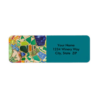 Green Parc Guell Tiles in Barcelona Spain Return Address Label
