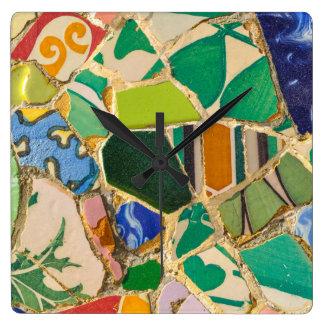 Green Parc Guell Tiles in Barcelona Spain Wallclocks