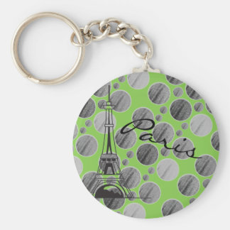Green Paris Dot Circle keychain