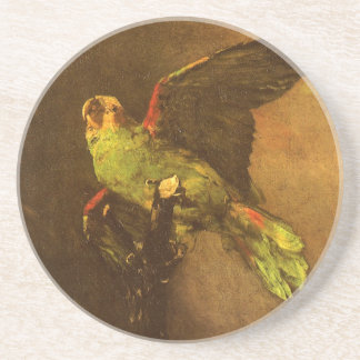 Green Parrot by Vincent van Gogh, Vintage Fine Art Beverage Coaster