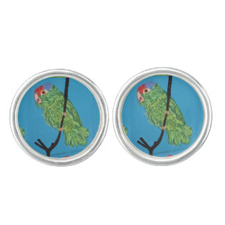 green parrot cuff links
