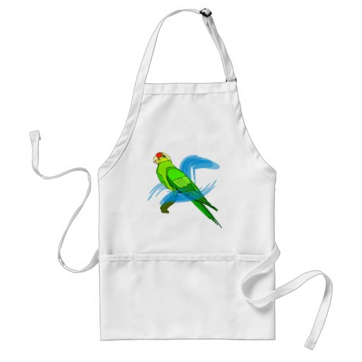 Green Parrot Feathers with Blue Swirls Aprons