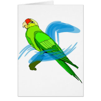 Green Parrot Feathers with Blue Swirls Greeting Card