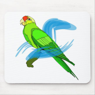 Green Parrot Feathers with Blue Swirls Mouse Pad
