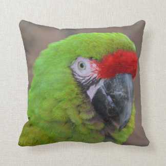 green parrot head view  bird pillow