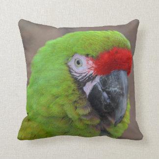 green parrot head view  bird throw pillow