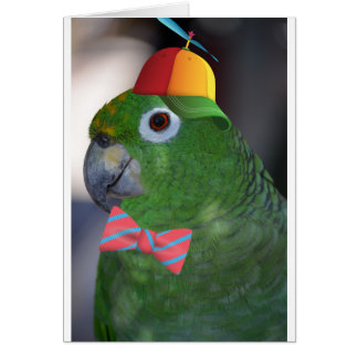green parrot kid friendly greeting card