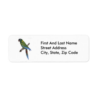 Green Parrot Macaw Painting Return Address Label