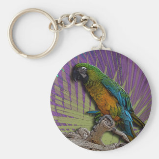 Green Parrot & Palms keychain
